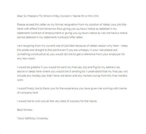Notice Of Resignation Letter Template 10 Free Word