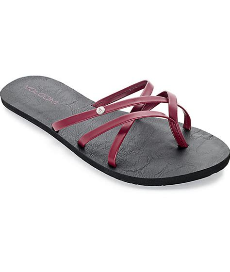 volcom new school sandals volcom new school burgundy sandals