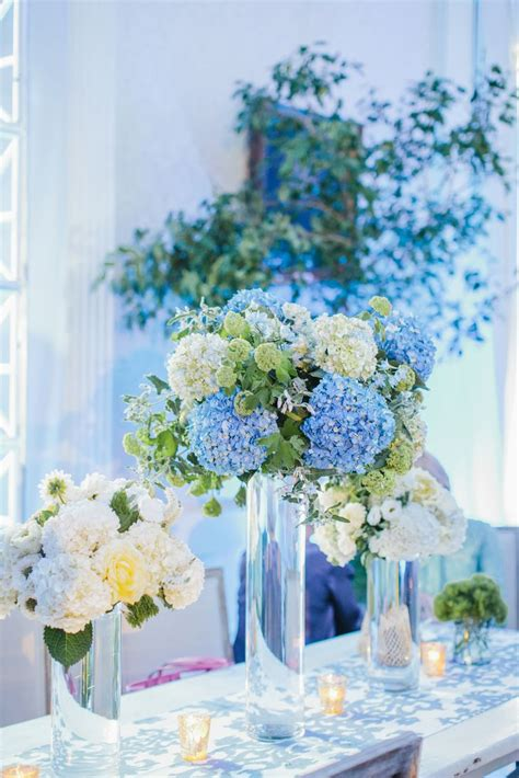 blue and white hydrangea centerpieces