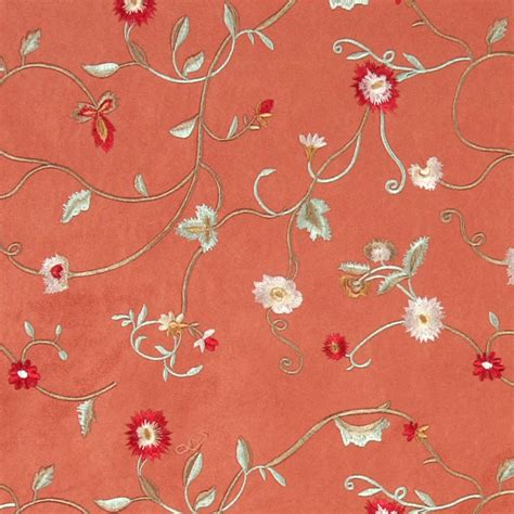 embroidered upholstery fabric salmon green ivory red embroidered floral suede upholstery