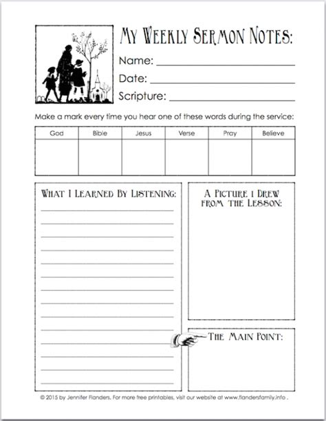 free printable for encouraging kids to listen in church
