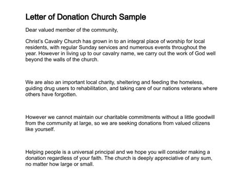 Fundraising Letter Sle For Church Sle Letter Requesting Donations For Church Sle