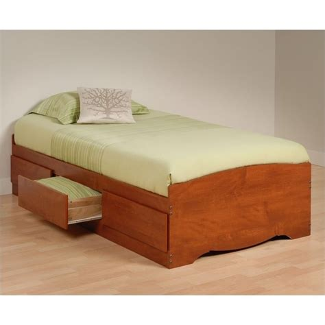 twin platform storage bed with headboard in cherry cbt