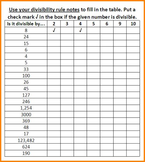 13  divisibility rules worksheet   LetterHead Template Sample