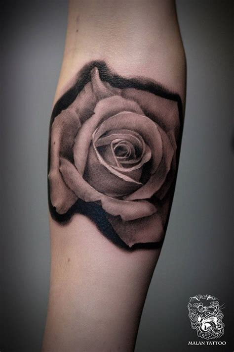 rose realism tattoo portrait black and grey malan