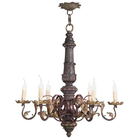 Iron And Chandelier Antique Carved Wood And Wrought Iron Italian Baroque