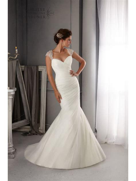 mori 5270 pleated tulle mermaid style wedding dress