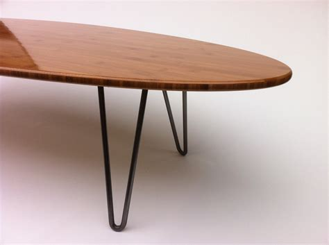 Hairpin Leg Coffee Table 47 Surf Board Shaped Elliptical Mid Century Modern Coffee Table Hairpin Legs In Caramelized
