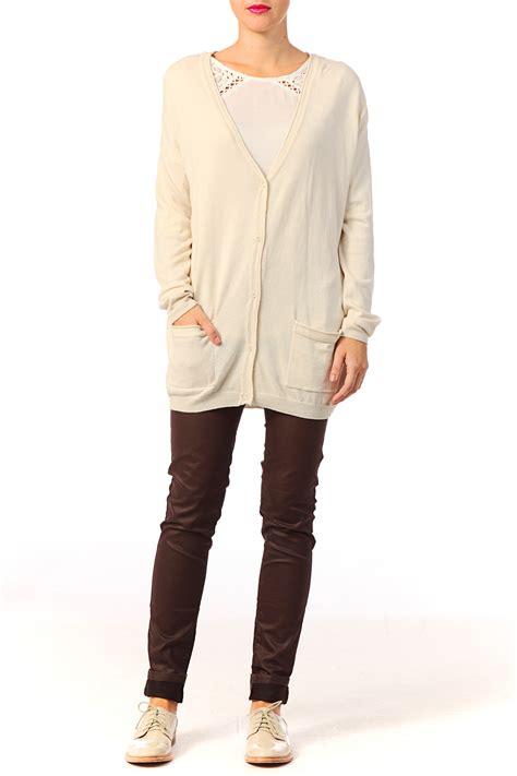 Hoodie Jaket Sweater Quattro Ls vero moda cardigan in white lyst