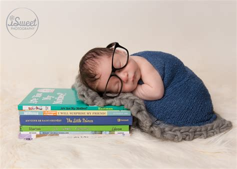 newborn pose photography idea books glasses boy marci book worm dorchester family photographer isweet