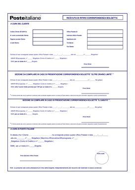 delega ufficio postale poste italiane ricevuta di ritiro corrispondenza bolgetta
