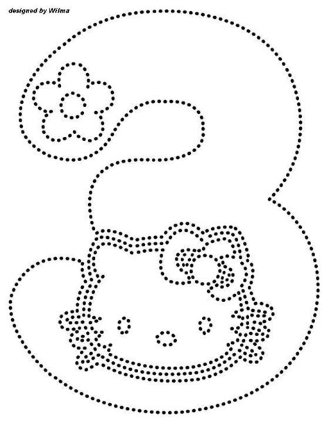 printable hello kitty numbers number 3 tracing worksheets for preschool kids under 7