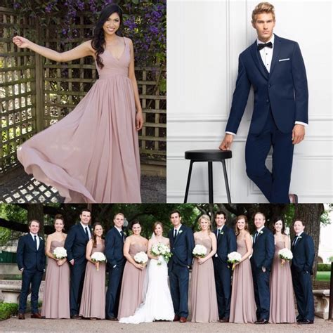 Navy Blue and Soft Dusty Pink make the best wedding party