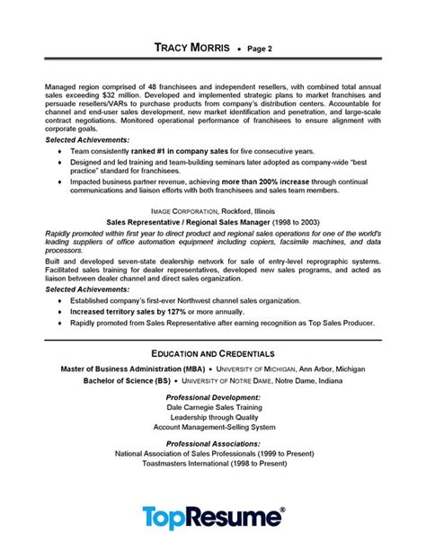 sle of professional resume format sales manager resume sle professional resume exles