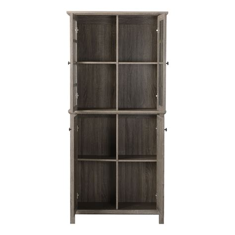 Door Storage Cabinet Storage Cabinet With 2 Glass Doors Kitchen Dining Room Organizer Shelves Wood Cabinets Cupboards