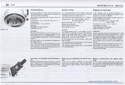 Sachs Motor Vergaser Einstellen by Sachs 505 2 Motor Z 252 Ndeinstellung Und Z 252 Ndmarkierungen