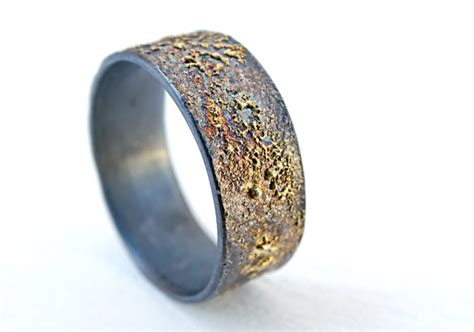 mens wedding band molten gold and silver unique mens by