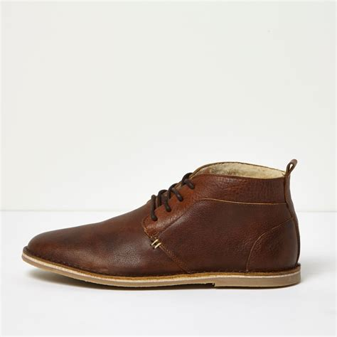 boots shoes brown borg lined leather desert boots boots shoes