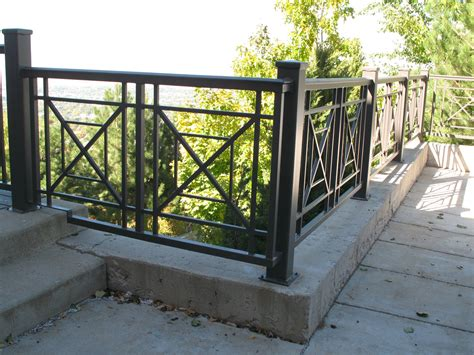 Handrails And Banisters For Stairs X Pattern Iron Railings The Iron Anvil Salt Lake City