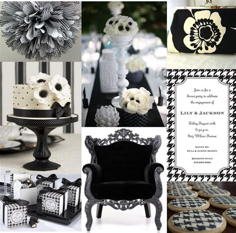black and white bridal shower theme ideas the planner s notebook inspiration board houndstooth