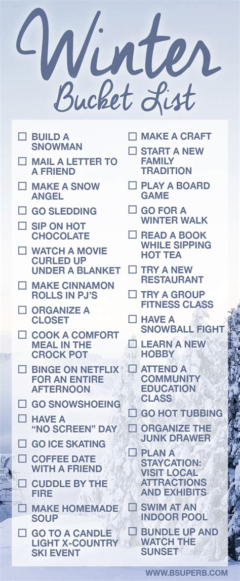 Summer Holiday Craft Ideas - winter bucket list b superb