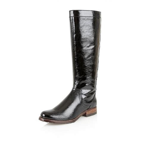 typhoon black crinkle shiny knee high boots
