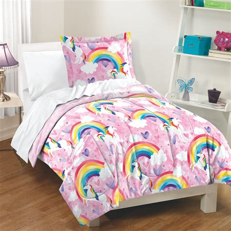 unicorn bedding twin unicorn rainbow girls pink 200 tc 100 cotton comforter