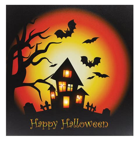 light up halloween decorations 20 quot light up halloween scene canvas wall picture home