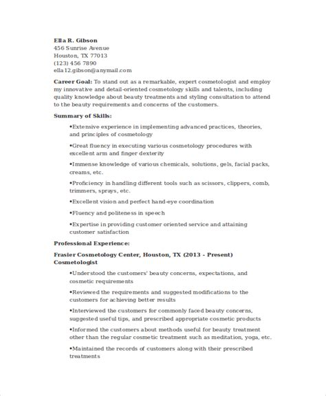 beautician resume sle 28 cover letter for cosmetology resume cosmetology