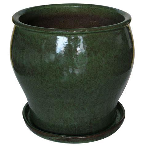 14 Inch Ceramic Planter 14 In Dia Toffee Ceramic Carafe Planter Db10024 14f The