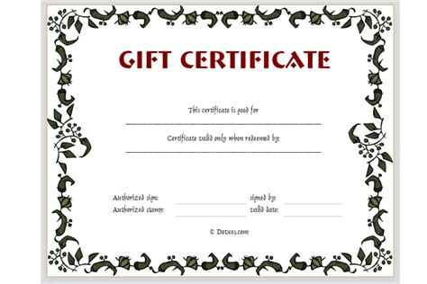 Free Downloadable Gift Certificate Template certificate templates dotxes