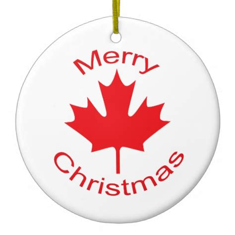 canadian flag double sided ceramic round christmas