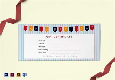 happy birthday gift certificate design template  psd