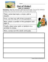 carving a pumpkin sequence worksheet read the sentences
