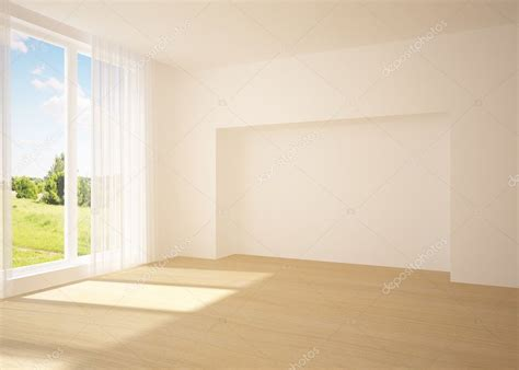 room image white empty room with nature view stock photo