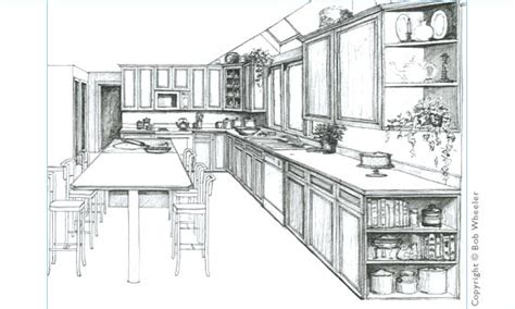 kitchen drawings kitchen drawing perspective interior design