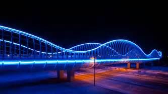 Lighting Careers Uae Blue Led S Light Up The Meydan Bridge In Dubai