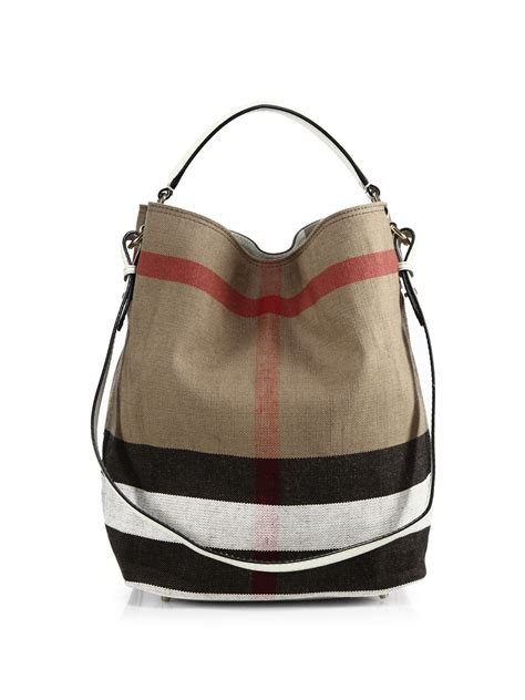 Burberry Canvas Shoulder burberry ashby medium house check canvas shoulder bag in lyst