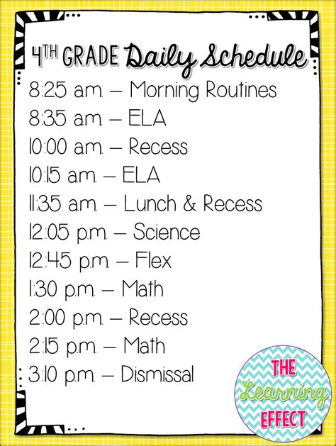 My 4th Grade Daily Schedule 2getherwearebetter The Learning Effect Second Grade Schedule Template