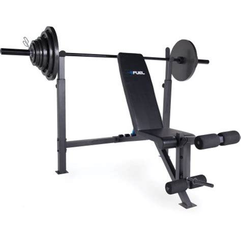 fuel pureformance olympic bench with 300 lb weight set
