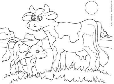 coloring pages of cow and calf cow and calf coloring page kinderart