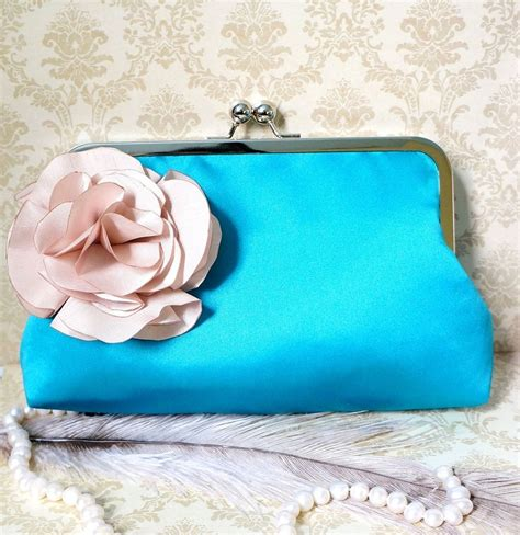 Sportsgirls Teal Tapestry Clutch Bag by Custom Teal Clutch Purse With Handmade Carnation Flower