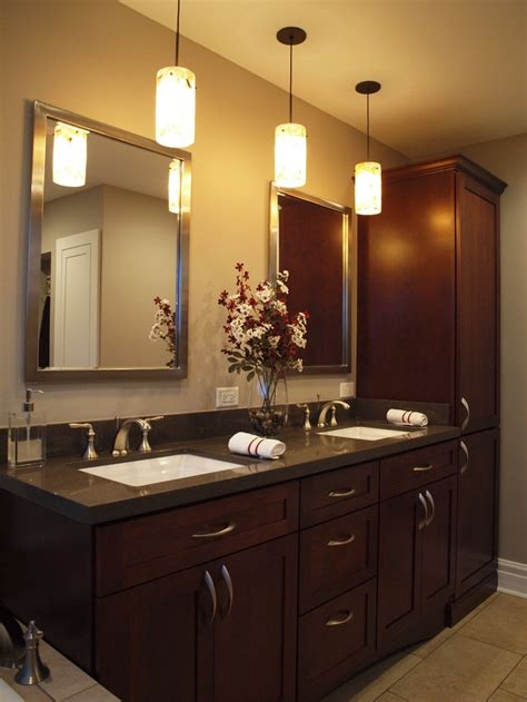 Pendant Lighting Bathroom Vanity Great Clean Lines And Warm Color Bathroom Make Overs