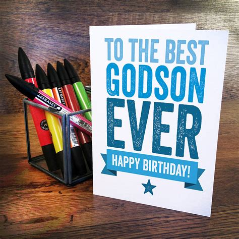 Happy Birthday Wishes To My Godson Birthday Card For Godson By A Is For Alphabet