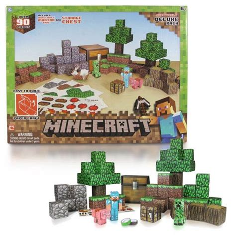 Minecraft Papercraft Overworld Set - minecraft papercraft overworld deluxe building set gamesplus