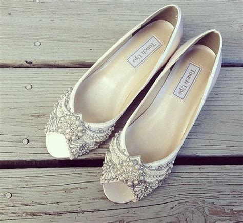Flat Embellished Wedding Shoes by Gatsby Peep Toe Wedge Wedding Shoes All By