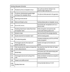 speech schedule template 20 wedding schedule templates free sle exle