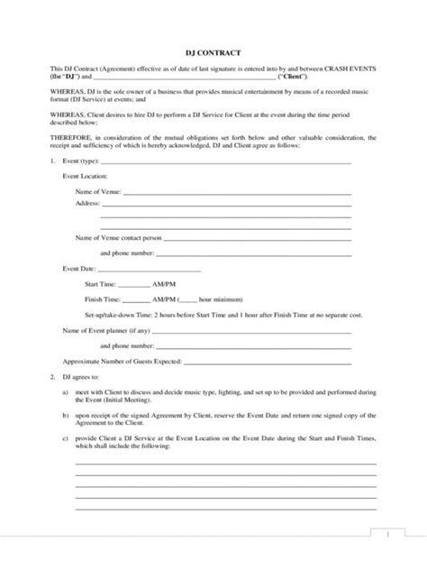 disc jockey contract template disc jockey contracts template template business