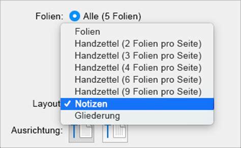 Folie Drucken Mac by Anzeigen Drucken Oder Hinzuf 252 Sprechernotizen Zu