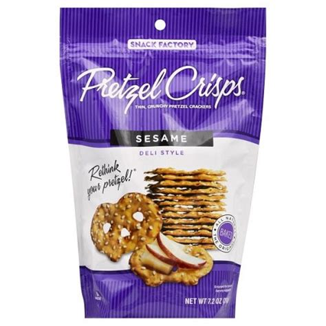 snack factory pretzel crisps sesame 7 2 oz bag